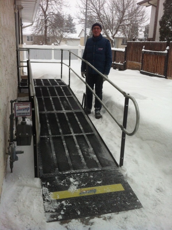 Amramp provides wheelchair access to Ft Saskatchewan home during snowstorm