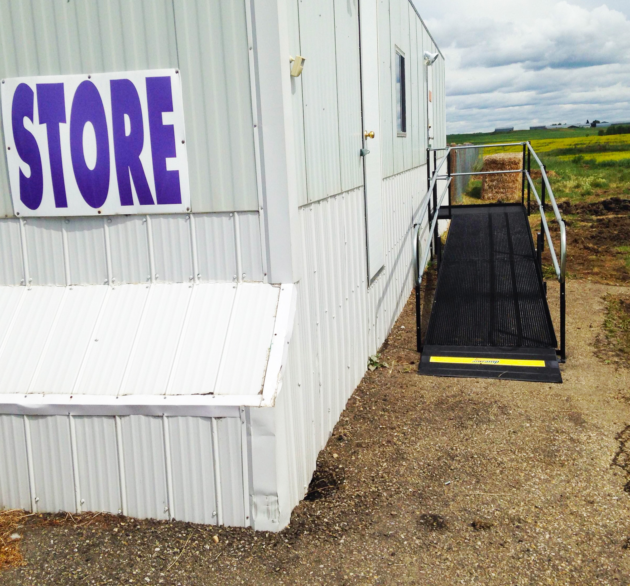 An Amramp ramp makes entry to Twister Sisters yarn store safely accessible even in Alberta's winters