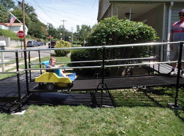 4-year-old Nate testing out his new Amramp modular ramp