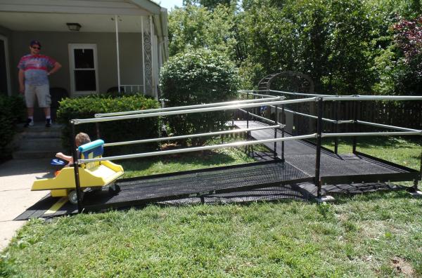 4-year-old Nate testing out his new modular Amramp ramp