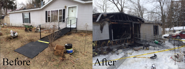 Amramp modular wheelchair ramp that a woman in Michigan used to escape her home during a fire; unlike a wood or aluminum ramp the durable steel Amramp ramp is completely in tact
