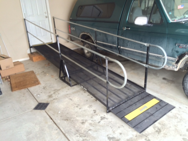 The Amramp modular ramp that was reinstalled after the fire