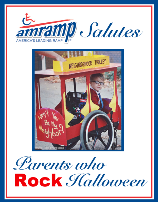 Amramp Salutes Parent Who Rock Halloween Award for Mr. Rogers Wheelchair Halloween Costume