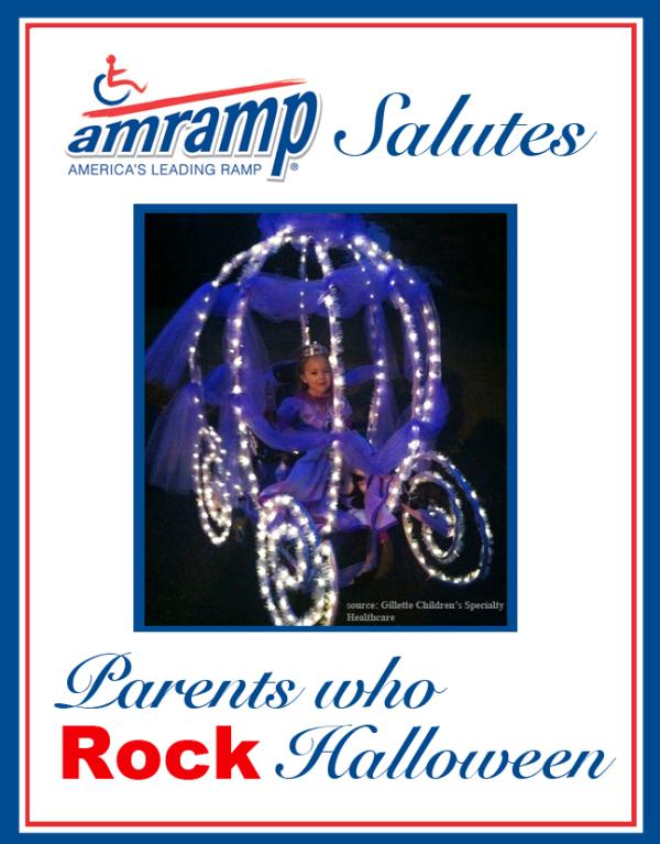 Amramp Salutes Parent Who Rock Halloween Award for Cinderella Wheelchair Halloween Costume
